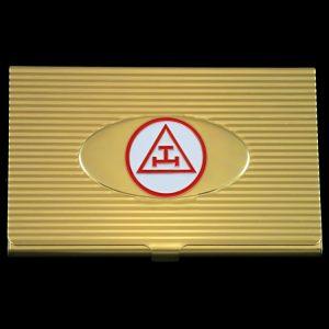 Mason Triple Tau Business Card Holder In Gold