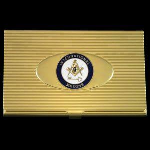 International Mason Business Card Holder In Gold