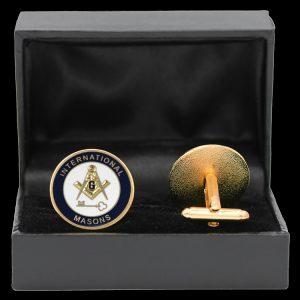 International Mason Shield Cuff Links W/Box- 1″