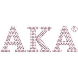 """AKA Pink Block Letters Studstone Heat Transfer – 7 1/4W X 2 1/2″T"""""""