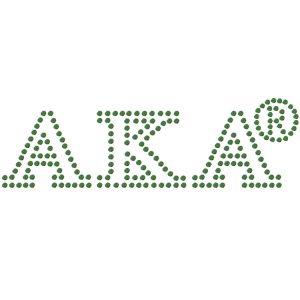 "AKA Green Letters Studstone Heat Transfer – 1 1/8T X 3 1/4″W"""
