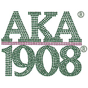 "AKA Chapter Style Green W/Pink Studstone Heat Transfer – 7W X 5 3/4″T"""