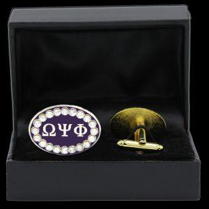 OPP 7/8″W Clear Austrian Crystal Cufflinks In Leatherette Box