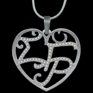 SGR Clear Crystal Filigree Heart Necklace