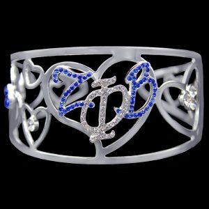 ZPB Color Crystal Filigree Heart Bangle Bracelet