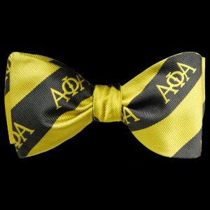 APA Imitation Silk Bow Tie & Handkerchief Set Black/Gold