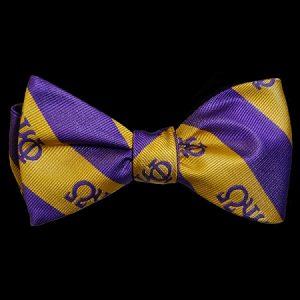 OPP Imitation Silk Bow Tie & Handkerchief Set Purple/ Gold