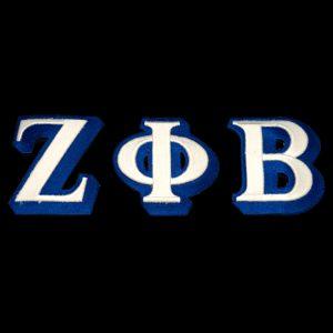 ZPB 3 1/2″T White/Royal 3-D Letters Emblem Set W/Heat Seal Backing