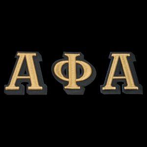 APA 3 1/2″T Gold/Black 3-D Letters Emblem Set W/Heat Seal Backing