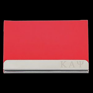 KAP Laser Engraved Business Card Holder – Stainless Steel With Red Leather