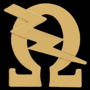 OPP 3/4″ Omega & Bolt Lapel Pin In Gold