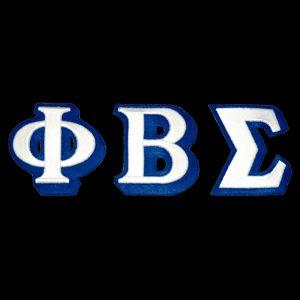 PBS 3 1/2″ White/Royal 3-D Letters Emblem Set W/Heat Seal Backing