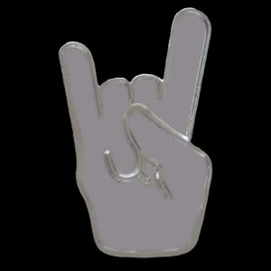 "1"" PBS Hand Lapel Pin Silver"