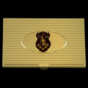 IPT Crest Business Card Holder In Gold