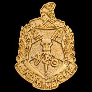 "DST 1"" Sandblast Gold Shield Pin"