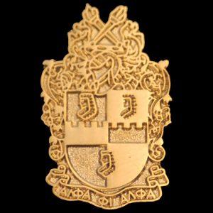 "APA 1"" Sandblast Gold Shield Pin"