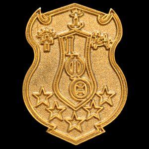 """IPT 1""""T Sandblast Gold Shield Lapel Pin"""