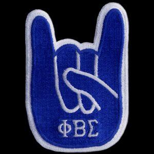 "PBS 4""T Hand Sign R/W Emblem W/Heat Seal Backing"