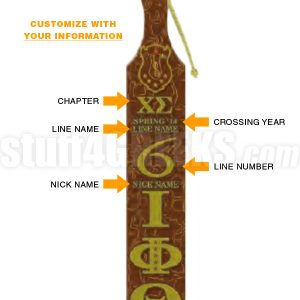 IOTA PHI THETA PRINTED LINE NUMBER PADDLE WITH CROSSING INFORMATION (CQ)