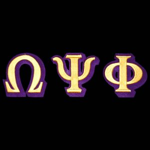 OPP 3 1/2″T Gold/Purple 3-D Letters Emblem Set W/Heat Seal Backing