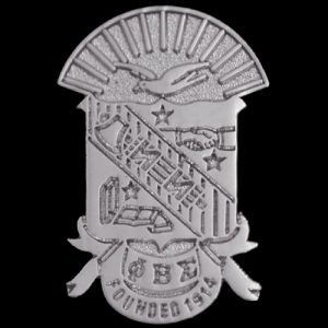 "PBS 1"" Sandblast Silver Shield Pin"