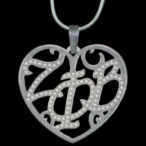 ZPB Clear Crystal Filigree Heart Necklace