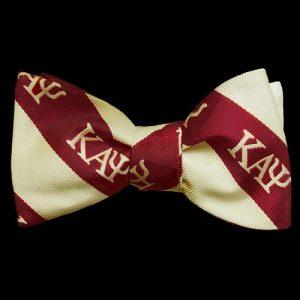 KAP Imitation Silk Bow Tie & Handkerchief Set Crimson/Cream