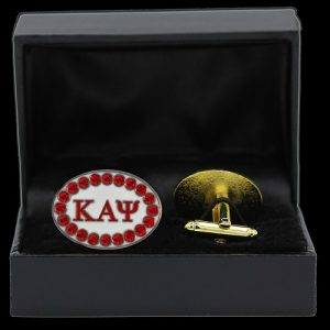 KAP 7/8″W Red Austrian Crystal Cufflinks In Leatherette Box