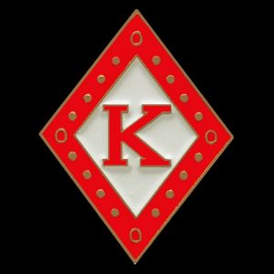 KAP 1″ Diamond Lapel Pin In Red